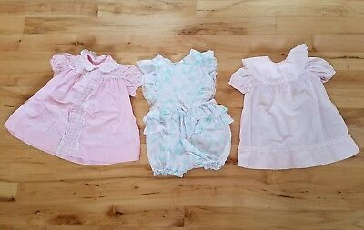 Vintage Toddler Girl Dress Lot Of 3 Size 2T 3T Spring Lace Ruffle Baby Romper