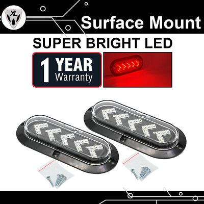 2X Oval Clear Lens Red 25 LED  Brake Stop Light Sealed Truck Trailer Side Marker