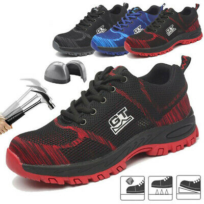 GT Men Safety Shoes Steel Cap Toe Sneakers Breathable Work Hiking Climbing Shoes