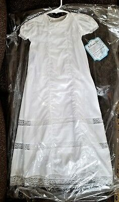 Christening Gown & Slip 6m White NWT Remember Nguyen 100% Cotton Baptism Lace