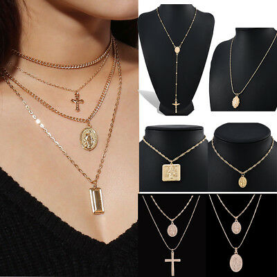 Vintage Religious Jesus Cross Pendant Chain Necklace Charm Necklace Jewelry