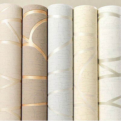 10M Modern Abstract Shiny Gold Embossed Flock Textured Non-Woven Wallpaper Roll