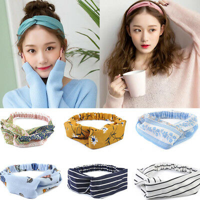 Trendy Womens Girl Yoga Elastic Floral Hair Band Headband Turban Twisted Knotted
