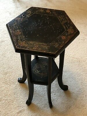 Antique Chinese Table Black Lacquered Dragon Hexagonal Side End Posy Stand