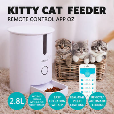 2.8L Automatic Food Bowl Dispenser kitty Cat Feeder Smart Remote Control APP OZ
