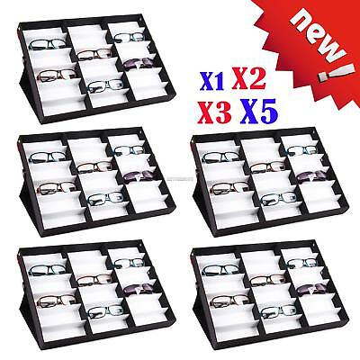 5x LARGE Storage Display Case Box for Eyeglass Sunglass Glasses 18 Compartments~
