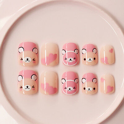 NEW 24pcs Cute Pink Baby Bear Cartoon Short False Tip Fake Nails Stickers N360