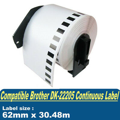 Compatible Brother DK22205 Label for QL550 QL1050 Continuous Roll 62mm x 30.48m