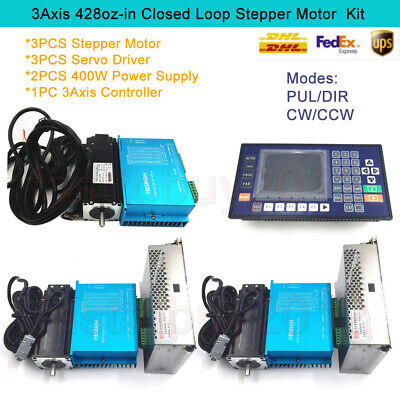428oz-in 3Axis 3NM Closed Loop Stepper Motor Nema23 DSP Driver&2PCS Power Supply
