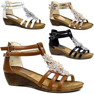 b46cc2021cdd Ladies Wedge Sandals Womens Heels New Fancy Summer Dress Party Beach Shoes  Size