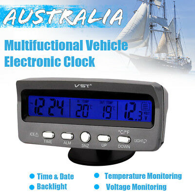 12V Car Voltage Monitor Battery Alarm Temperature Thermometer Clock display AU
