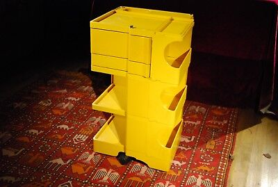 Joe Colombo vintage Boby 36 storage trolley in yellow designed for Kartell
