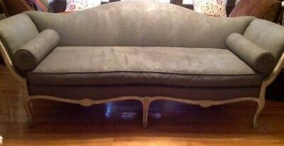 VICTORIAN WOODEN FRAME SOFA COUCH GREY LATE 1800's NO RIPS OR STAINS ANTIQUE