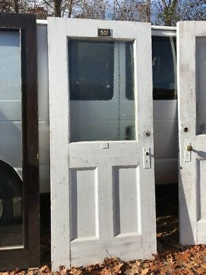 HO Antique Two Panel Florentine Textured Glass Entrance Door 35.5 X 83