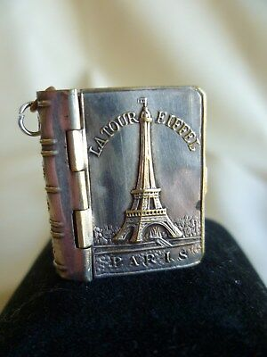 Miniature white metal book Paris souvenir photos 1 inch high