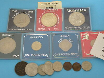 CHANNEL ISLES JERSEY GUERNSEY COIN GROUP - CROWNS, POUND COINS, £2, DOUBLES etc