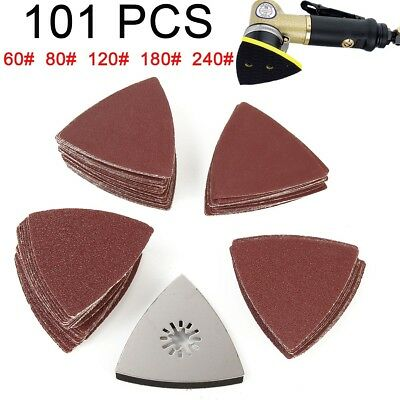 101Pcs Sanding Sheets Paper Pads Set 60-240 Gift Triangle Saw Blade Multitool UK