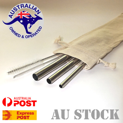 Stainless Steel Reusable Metal Drinking Straw - 3 Eco Friendly Straight Straws