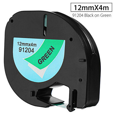 12mmx4m Plastic Label Tape Compatible For DYMO letraTAG 91204 Black on Green
