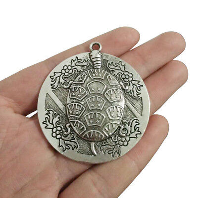 5 x Large Tibetan Silver Carved Turtle Tortoise Round Charms Pendants Beads 49mm