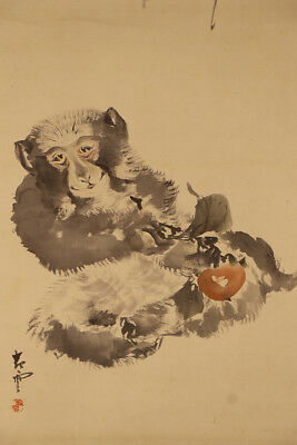 """JAPANESE HANGING SCROLL ART Painting """"Monkey"""" Asian antique  #E1738"""
