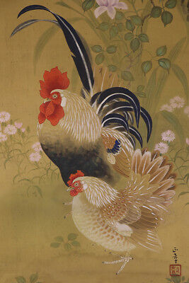 """JAPANESE HANGING SCROLL ART Painting """"Chickens"""" Asian antique  #E1734"""