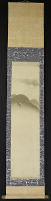"""JAPANESE HANGING SCROLL ART Painting Scenery """"Mountains"""" Asian antique  #E1720"""