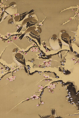 """JAPANESE HANGING SCROLL ART Painting """"Sparrows"""" Asian antique  #E1729"""