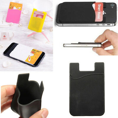 Silicone Mobile Phone Wallet Credit Card Cash Sticker Adhesive Holder Case