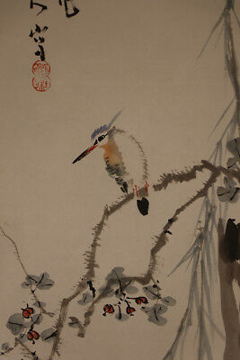 """JAPANESE HANGING SCROLL ART Painting """"Kingfisher"""" Asian antique  #E1748"""