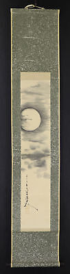 """JAPANESE HANGING SCROLL ART Painting """"Moon"""" Asian antique  #E1754"""
