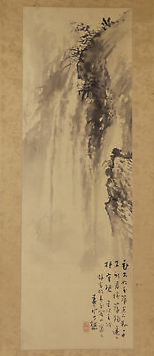 """JAPANESE HANGING SCROLL ART Painting Scenery """"Waterfall"""" Asian antique  #E1750"""