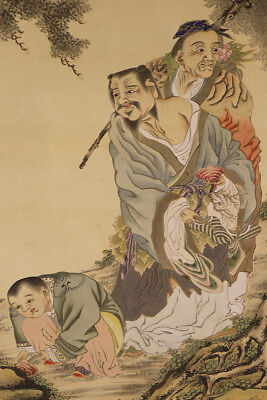 JAPANESE HANGING SCROLL ART Painting  Asian antique  #E1762