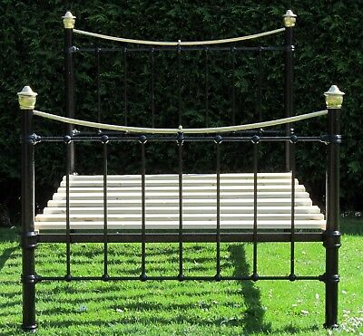 Pretty Victorian Brass and iron Small Double ( 4 feet wide ) Bed with Pine Base