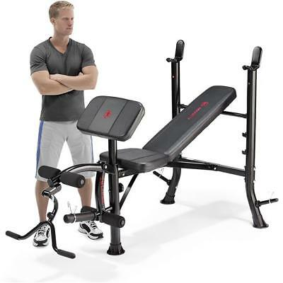 Marcy Eclipse BE1000 Barbell Workout Weight Bench, Chest Press Rack, Arm Curl