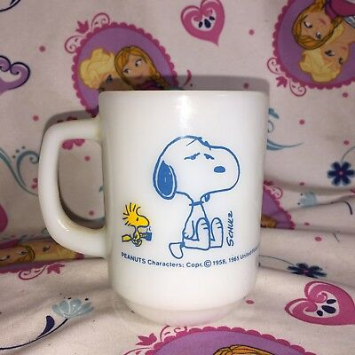Fire King Peanuts Snoopy I'M NOT WORTH A THING BEFORE COFFEE BREAK! Mug