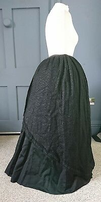 Unusual Early 1900s Button Through Mourning Skirt - Edwardian Antique Fashion