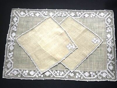 Early Vintage Linen Runner & Two Napkins HM Pulled Thread Darning Embroidery