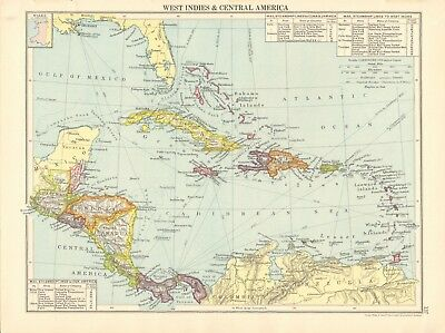 1925 ca MAP - WEST INDIES & CENTRAL AMERICA