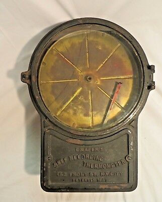 Antique Drapers Self Recording Thermometer New York, N.y. Patented 1887