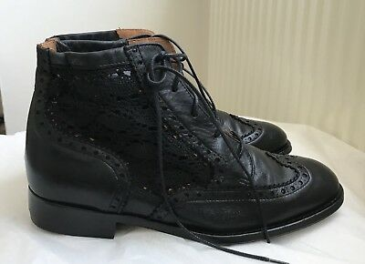 Topshop Black Leather & Lace Brogued Lace Up Ankle Boots Sz 39 6