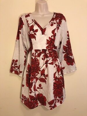 A Pea in the Pod Maternity Tunic Dress Sz L White  Red Satin V-neck Back Bow Tie