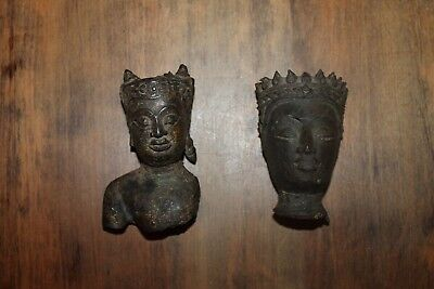2 Antique Cast Bronze Asian Buddha Busts Heads Fragments 3 1/2 inches