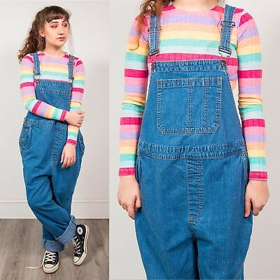 Vintage 90's Dungarees Maternity Light Blue Denim Long Romper Strappy Casual 18