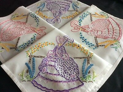 Beautiful Vintage Hand Embroidered Tablecloth ~ Crinoline Ladies/lovely Florals