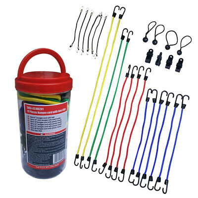"28 pcs Bungee Cord In Jar Include 40"" ,32"",24"",18"",10"",6"" Bungee Cords With Hook"