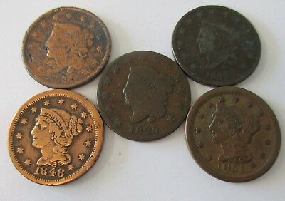5- Liberty Head Pennies Large Cents 1825 1851 1848 1830 & No Date) Liberty Head