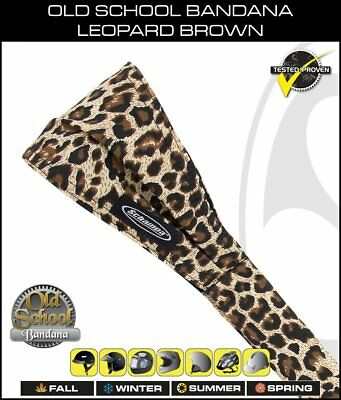 Schampa Old School Bandana Leopard Print Brown, Biker Headband, OSB1-228, Cotton