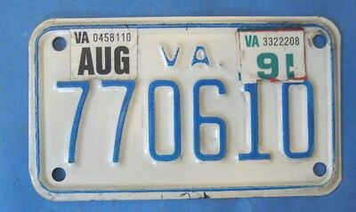 1991 Virginia Motorcycle License Plate