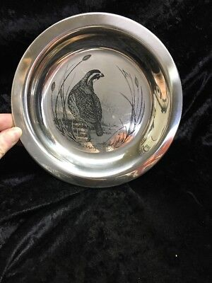 "Solid Sterling silver 1972 Franklin Mint Bird Plate ""Bobwhite"""